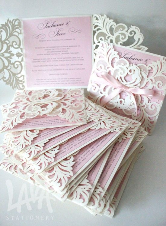 Pink and Ivory Laser Cut Invitation