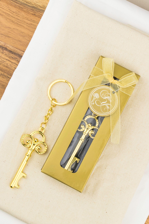 Gold key bottle opener with keyring favour key bottle