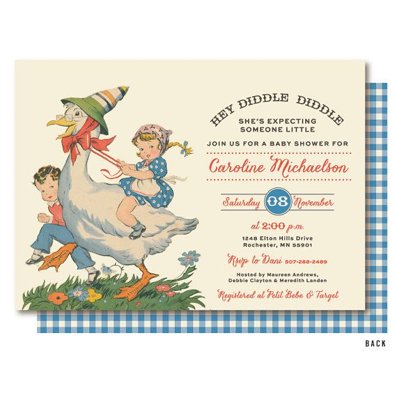 Mother Goose Baby Shower Nursery Rhyme Baby Shower Invitation