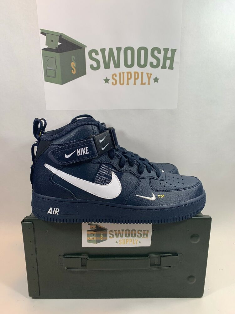 NIKE AIR FORCE 1 MID 07 LV8 MENS 8 OBSIDIAN BLUE 804609 403