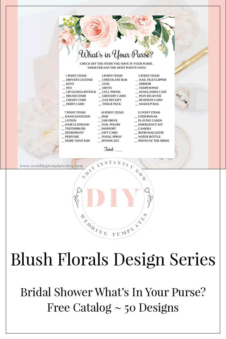 Bridal Shower Game Whats In Your Purse Blush Florals Edit Online Print Bridal Shower Games Printable Wedding Shower Invitations Whats In Your Purse