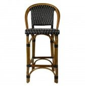 "Black & Cream Counter Height Mediterranean Bistro Bar Stool with Back (26"" h. seat)"