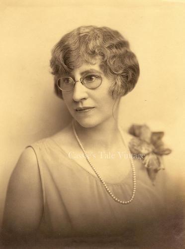 Antique Photo Woman w Glasses Pearl Necklace 1920s Hairdo Corsage Idaho | eBay