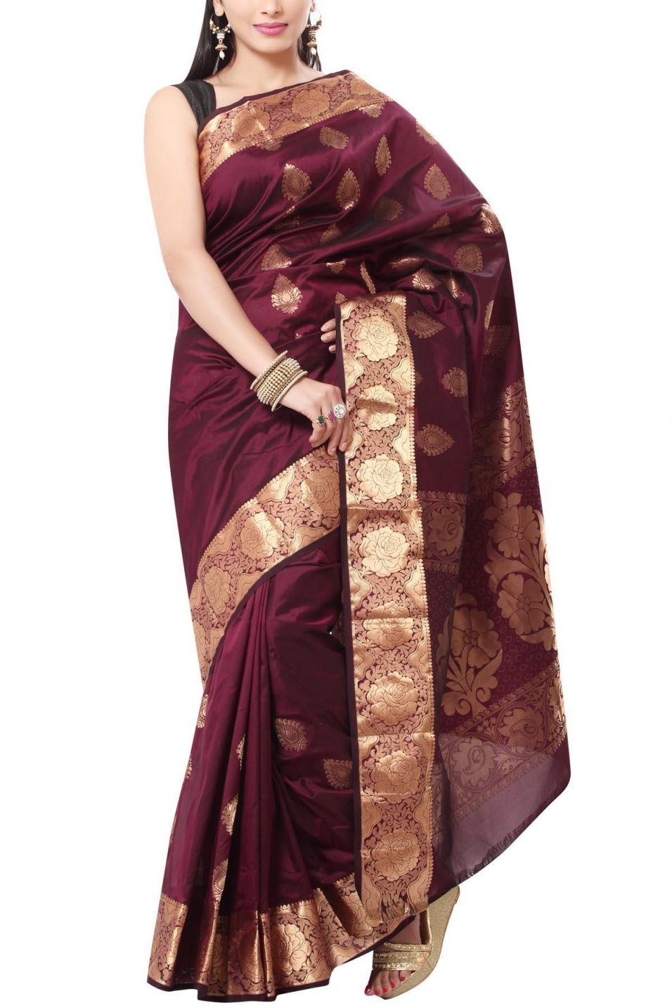 51eec05b2f Buy Online Coffee Brown & Zari Gulab Border Pure Silk Saree . India's Best  Ethnic Wears & Wares