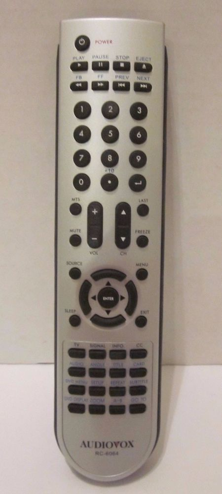 Audiovox Rc 6064 Remote Control Silver Black Dvd Audiovox