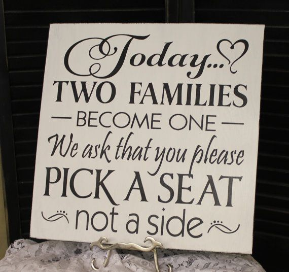 Wedding signs/Today Two Families Become by gingerbreadromantic ...