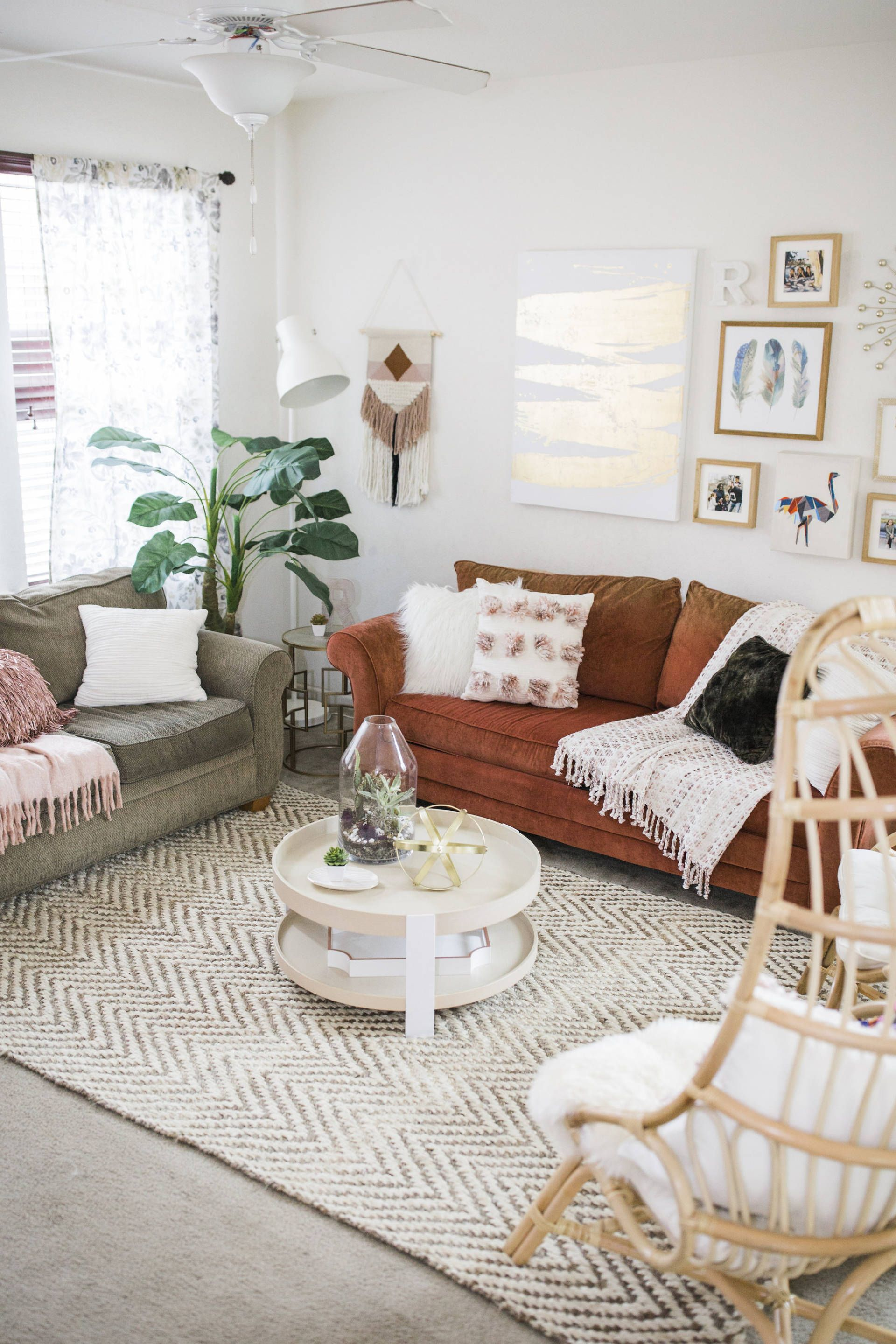 Living Room Reveal | Orange couch, Living rooms and Bohemian