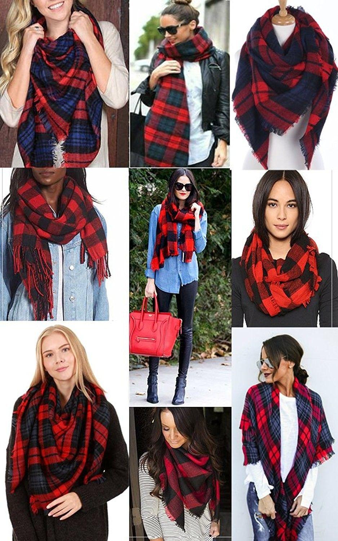 b73410253b7aa CCFW Women's Large Tartan Plaid Soft Square Blanket Scarf Wrap Shawl - Red  Navy 55 - CV1868YOUM0 - Scarves & Wraps, Fashion Scarves #SCARVES #WRAPS  #outfit ...