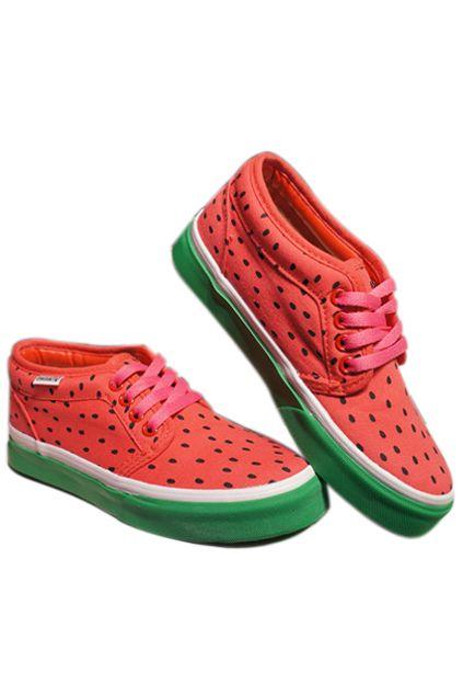 Watermelon Color Block Canvas Shoes