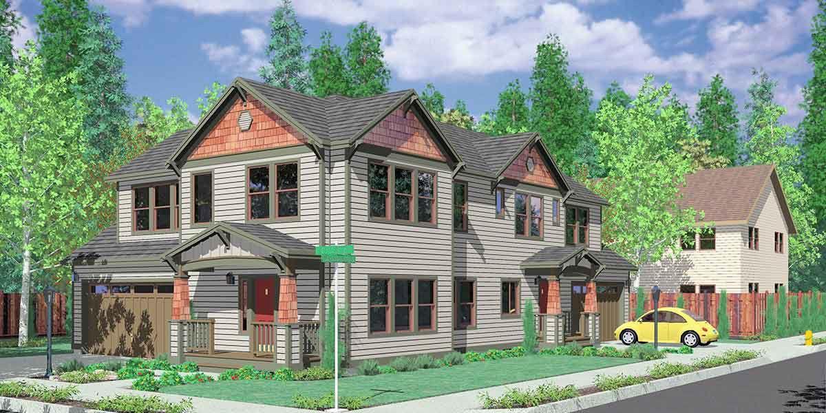 Plan 8155lb Duplex House Plan For The Corner Lot Garage House Plans Duplex Floor Plans Family House Plans