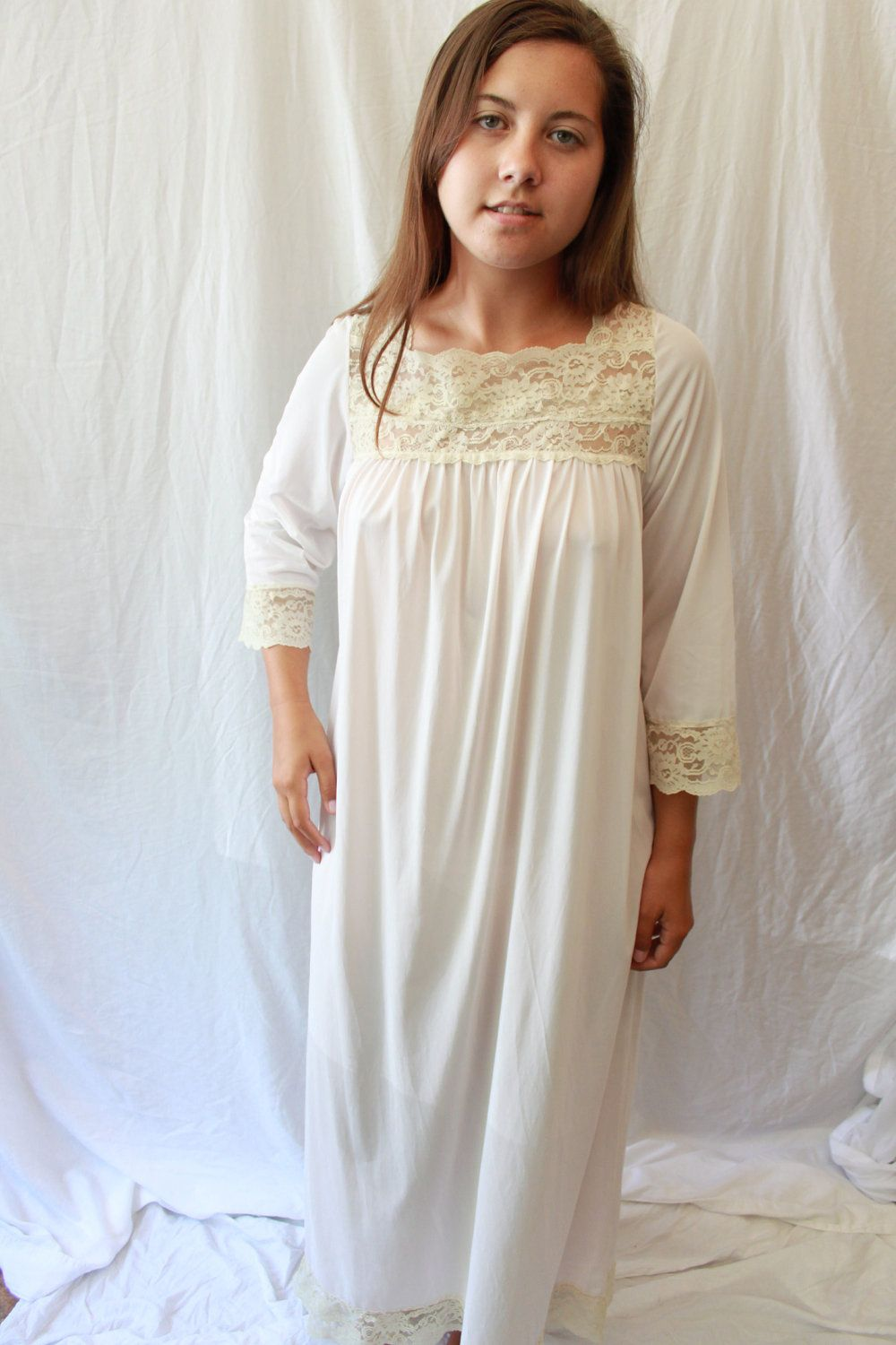 Vintage Nightgown With Lace Via Etsy Cold Summer Pinterest Vintage Nightgown