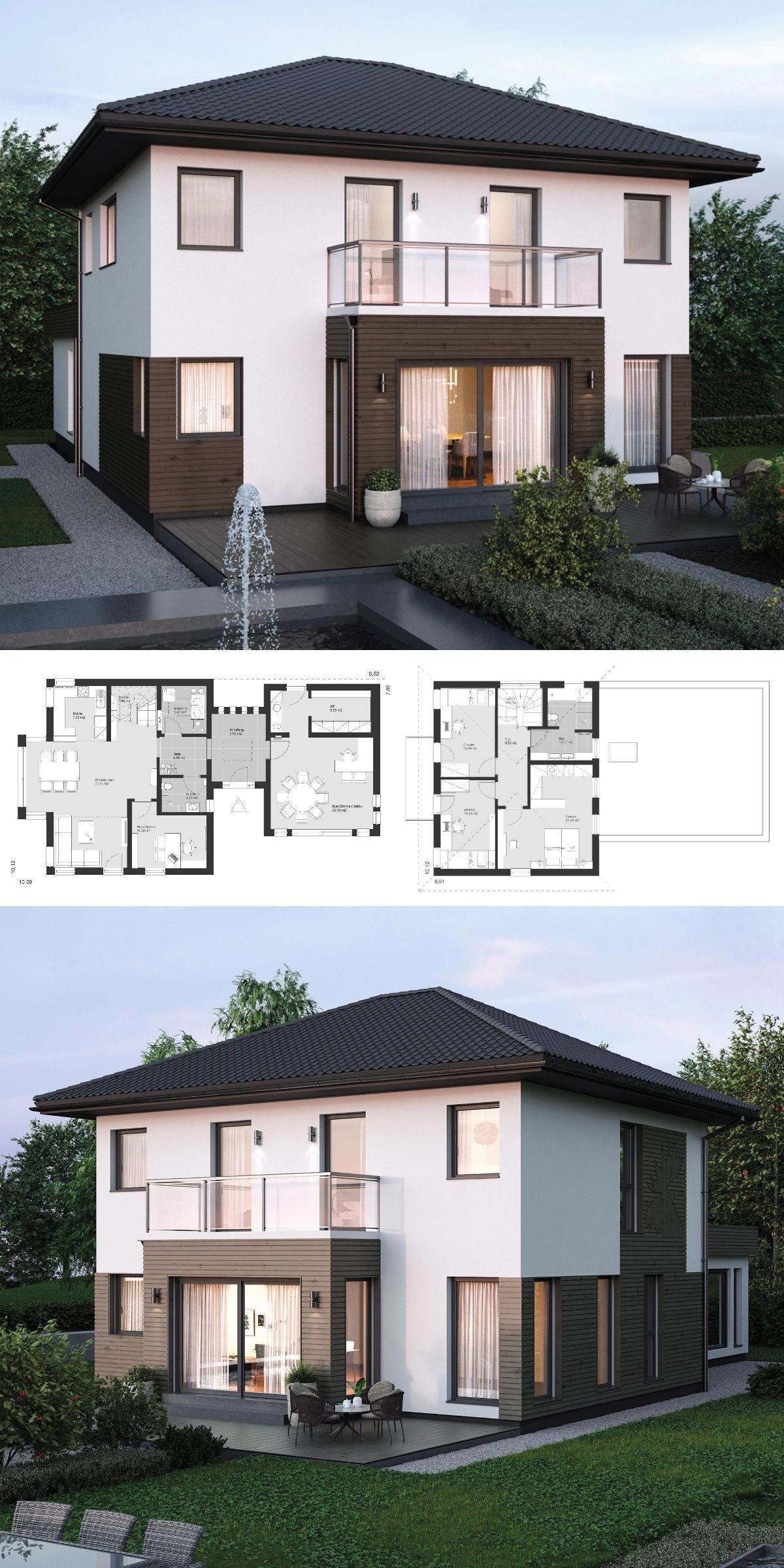 Großartig Holz Anbau Haus Foto Von Stadtvilla Modern Grundriss Mit Walmdach Architektur, Büro