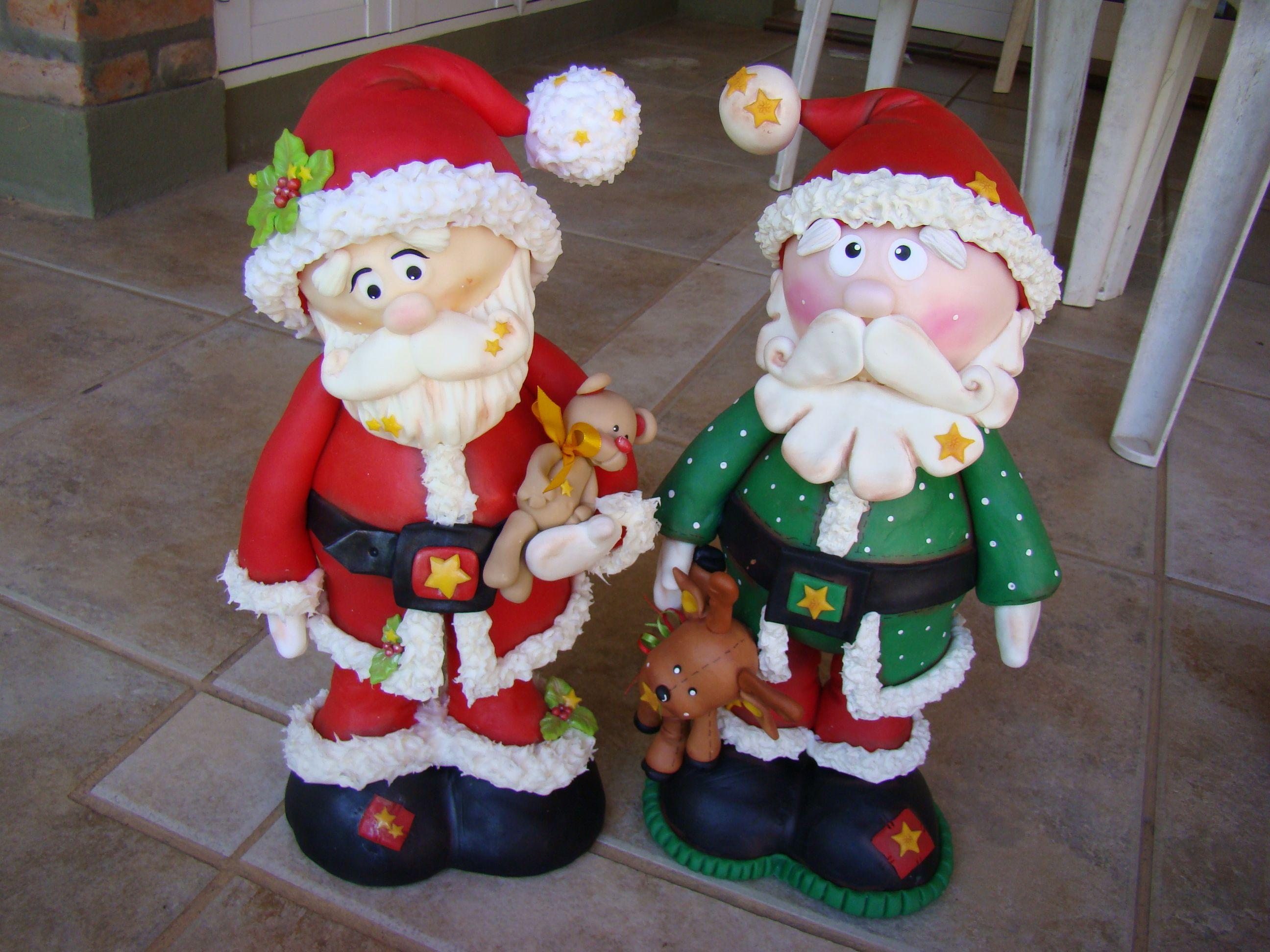 Papas noel grandotes en porcelana fria navidad en for Adornos navidenos en porcelana fria utilisima
