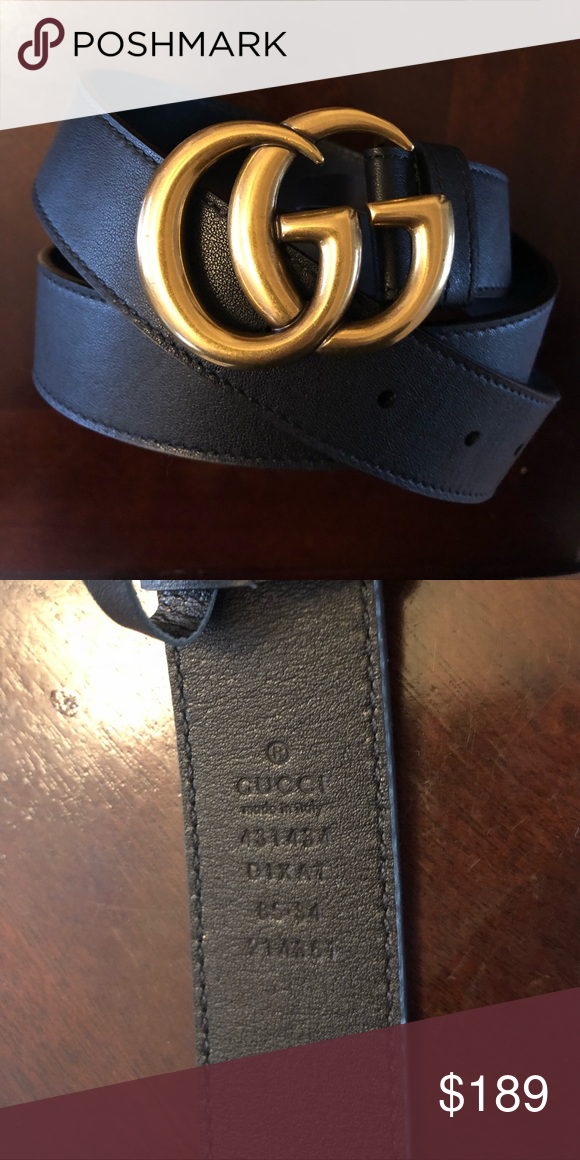 d1f4c69fbae GUCCI Gold GG Belt Grained leather belt in black Logo hardware at  adjustable post-stud