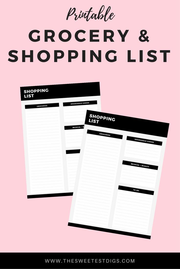 Free Printable Grocery List  Free Printable Budgeting And