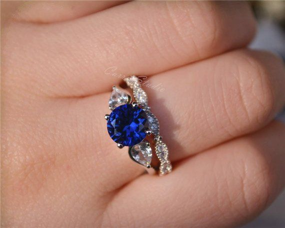 Blue Sapphire Ring Set Sapphire Engagement Ring Set Wedding Ring