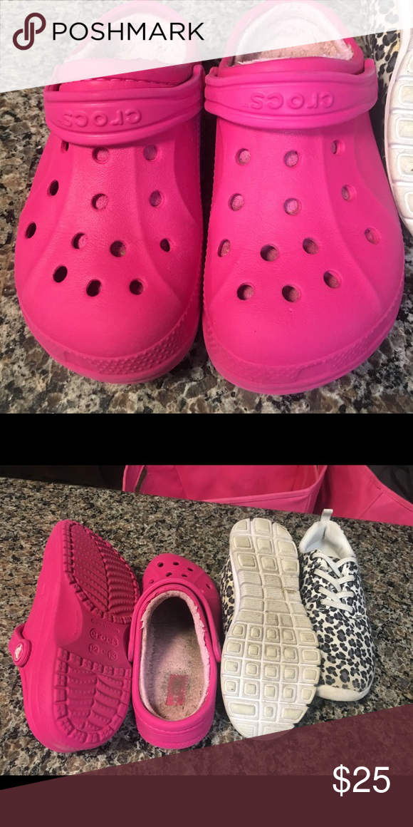 fdb4fa0a90 Crocs & leopard tennis shoe Size 12 winter crocs, great used ...