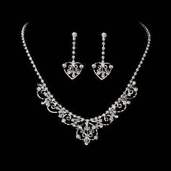 Silver Heart Bridal Wedding Necklace Earring Set on eBay!