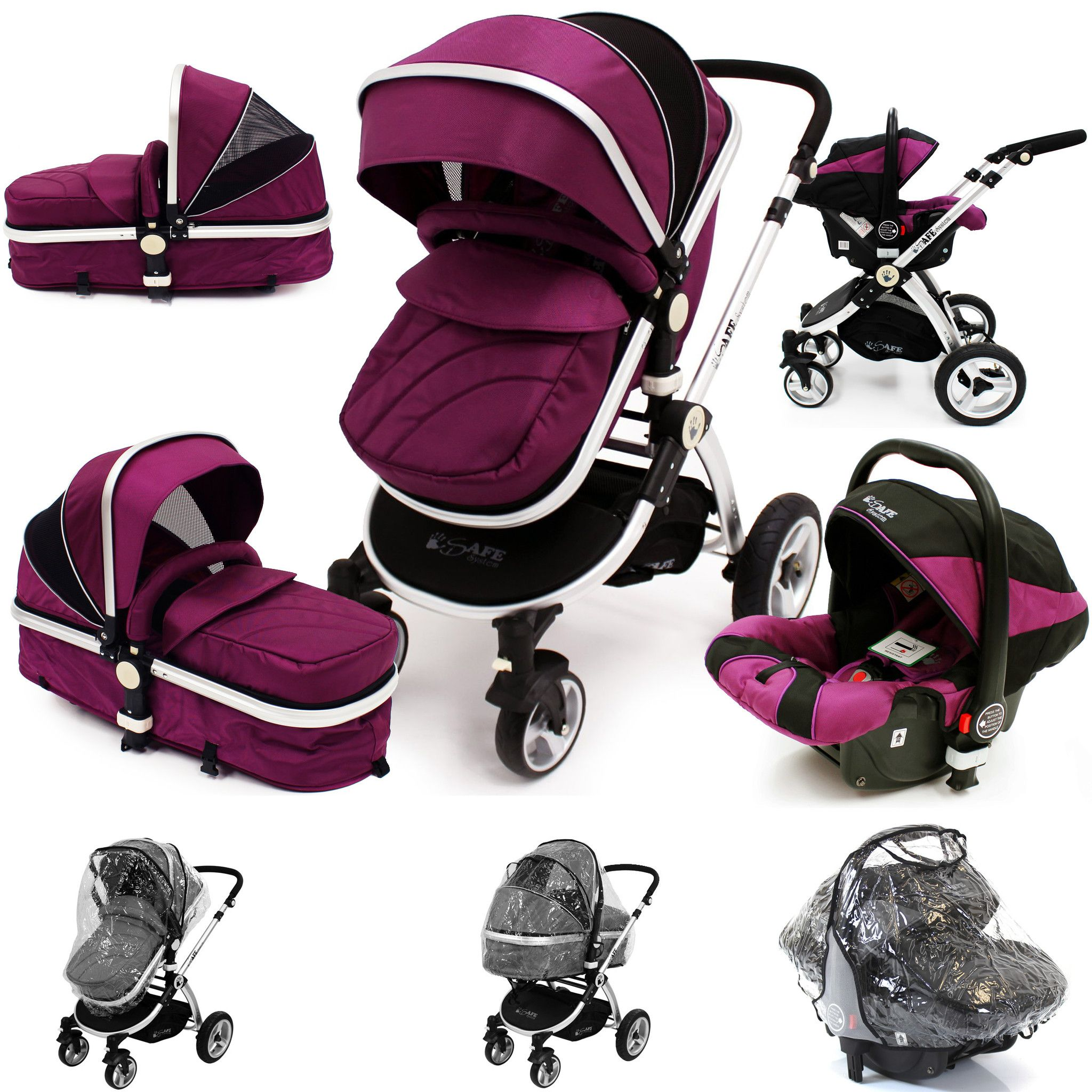 isafe 3 in 1 pram travel system plum purple with. Black Bedroom Furniture Sets. Home Design Ideas