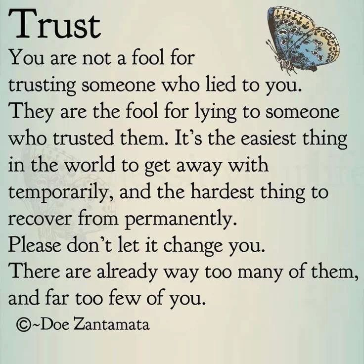 You are not a fool for trusting someone