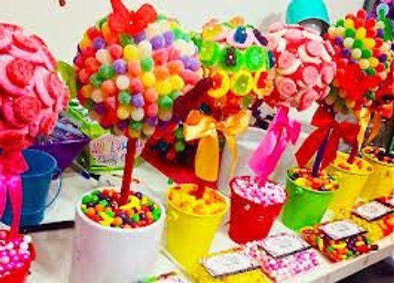Custom Candy Land Wonka Sweet Shoppe Rainbow Centerpiece Topiary Candy Buffet De...