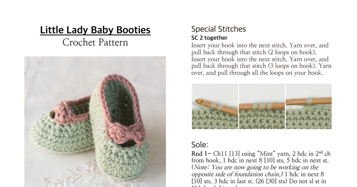 Little Lady Baby Booties Crochet Pattern.pdf | My Style | Pinterest ...