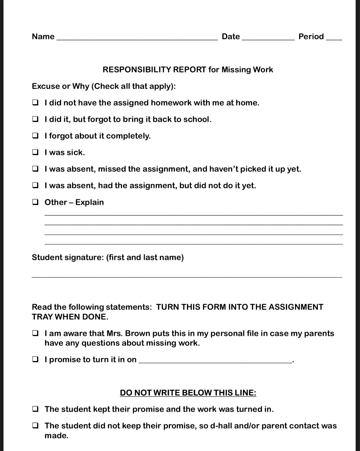 Missing Work Responsibility Report With Images