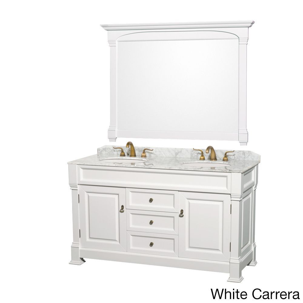 Wyndham Collection Andover 60 Inch White Double Sink Vanity And