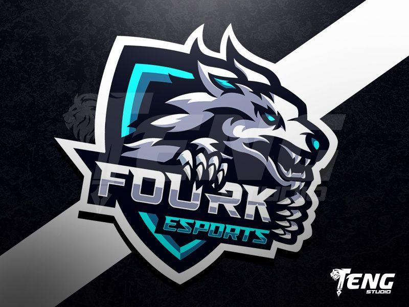 Fourk Esports Wolf Logo Esport Sport Character Vector By Teng Studio Retro Logos Game Logo Design Esports