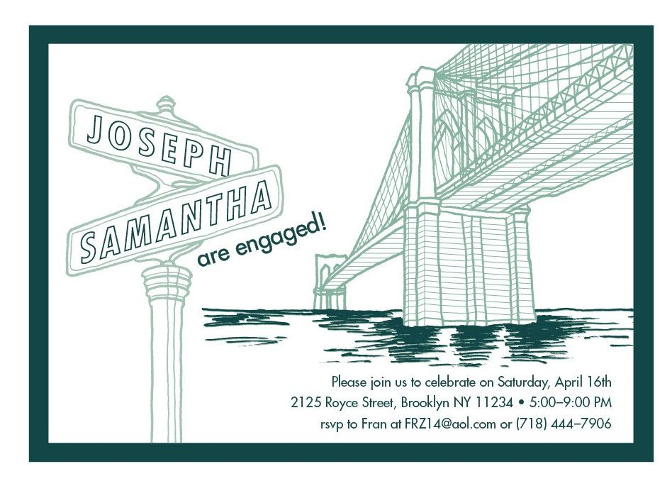 Brooklyn Bridge Engagement Party Invitations. NYC Modern Invites ...