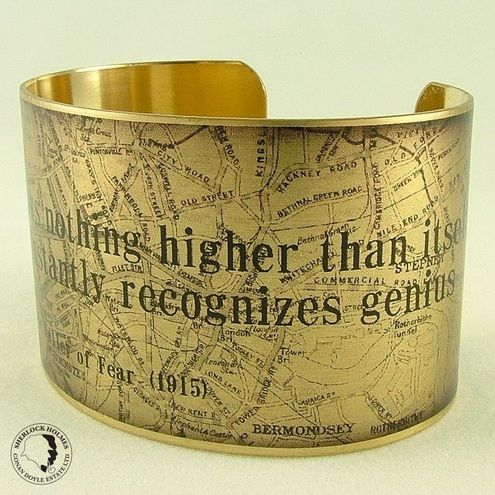Sherlock Holmes Map of at Baker Street – Mediocrity Knows Nothing – Literary Quote Brass Cuff Bracelet