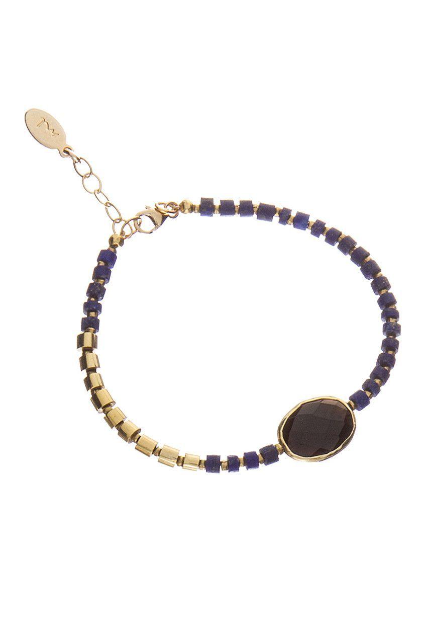 Lapis & Gold Wrapped Gemstone Bracelet