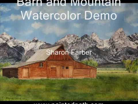 Barn and Mountain Landscape Watercolor Demo