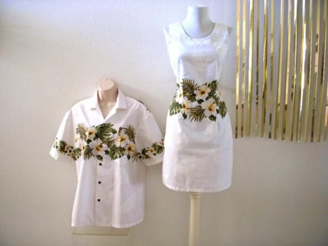 Gorgeous Hawaiian wedding set which includes a sheath dress and cabana shirt in a beautiful white cotton fabric with tone on tone white palm