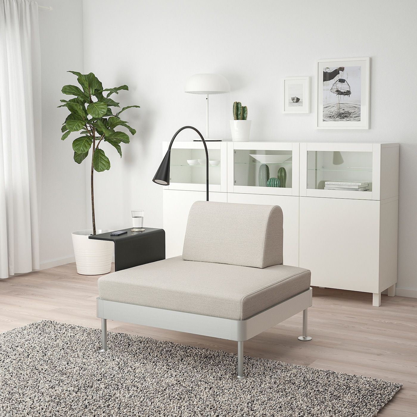 Delaktig Armchair With Side Table And Lamp Gunnared Beige Ikea In 2020 Fabric Armchairs Ikea Furniture