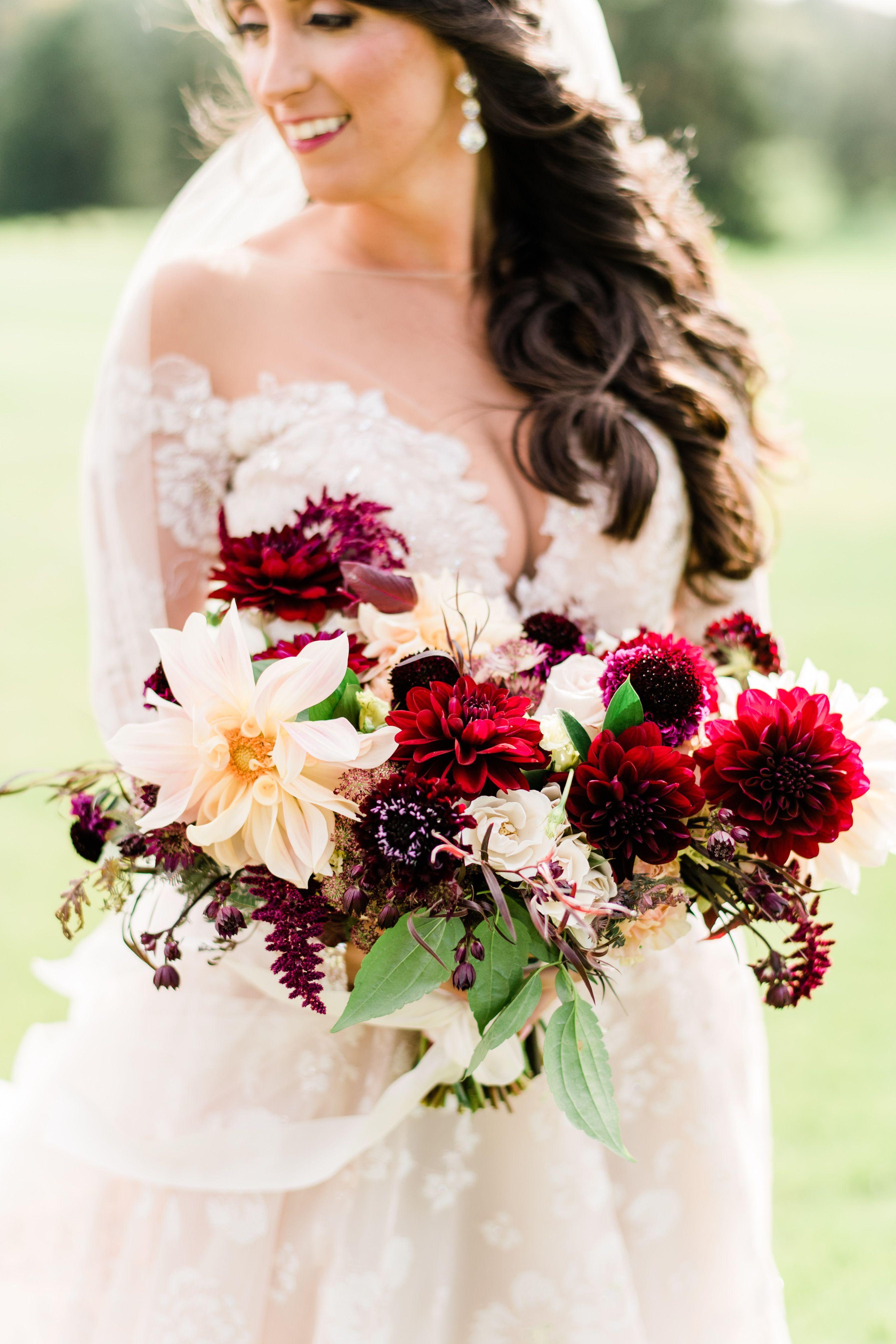 Burgundy bridal bouquet. Fall Bridal Bouquet. Dahlia