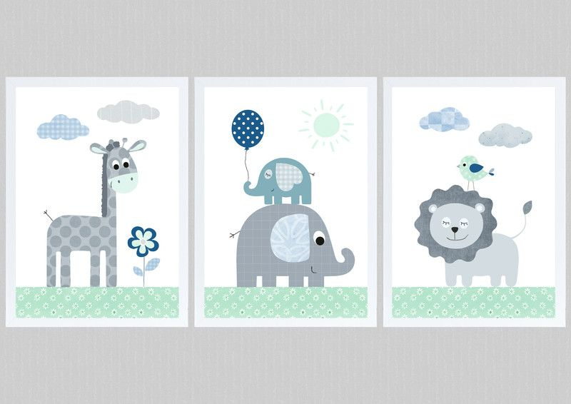 Kinder poster dschungeltiere set 3 mint grau a4 for Kinderzimmer bilder set