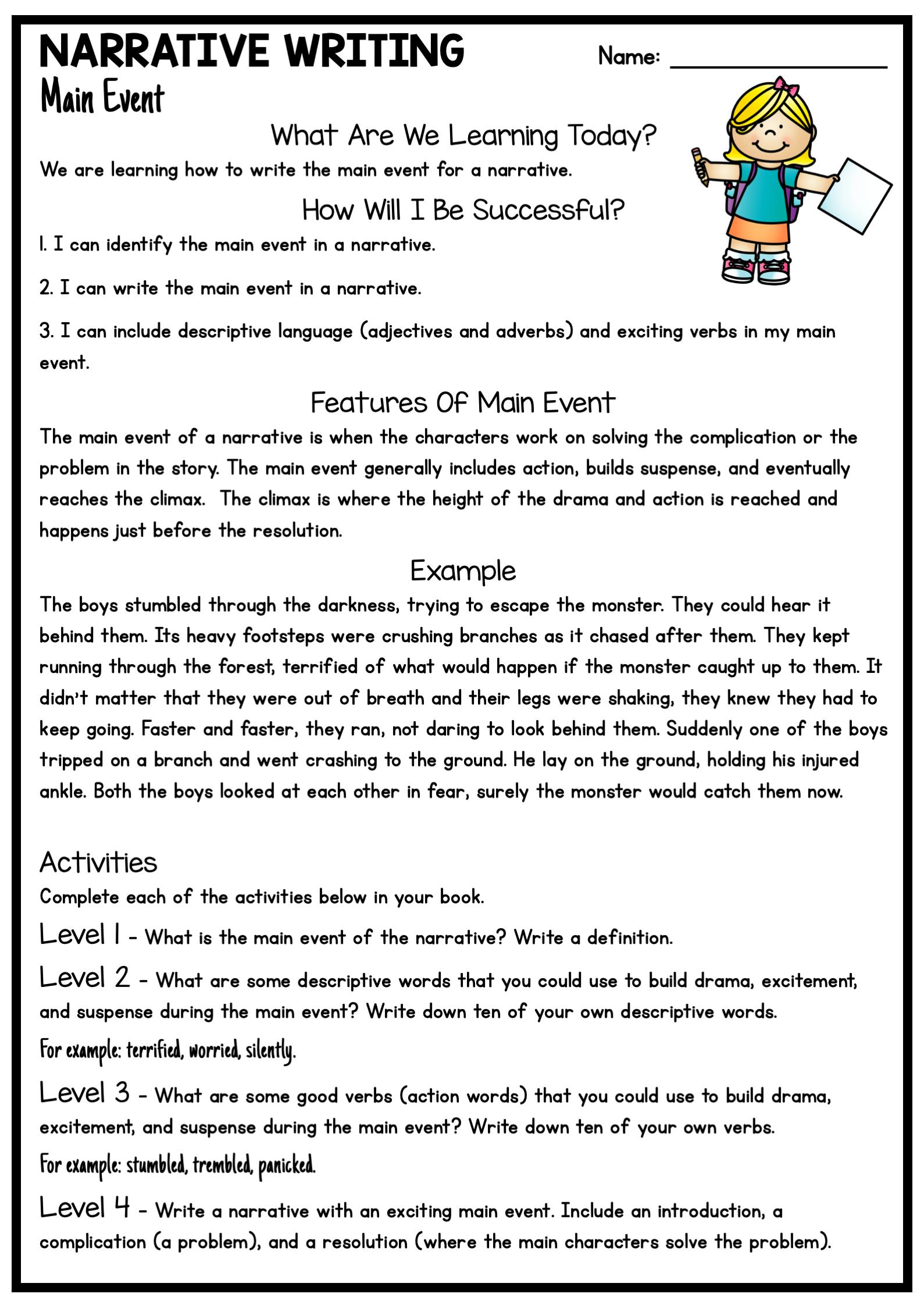 Narrative Writing Write The Main Event Distance Learning Narrative Writing Student Reading Writing [ 2249 x 1589 Pixel ]