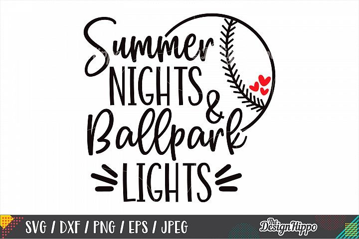 Photo of Summer Nights And Ballpark Lights SVG, Baseball SVG, DXF PNG (230416) | Cut Files | Design Bundles