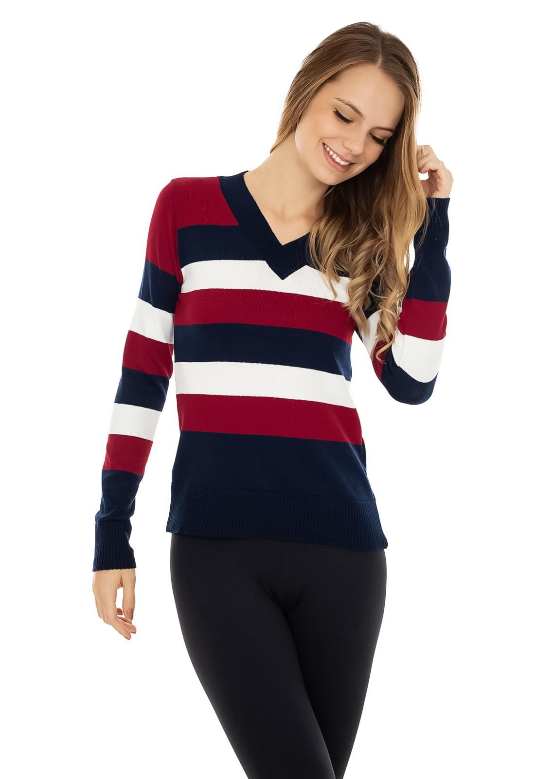f65ff82c9284 Blusa Pink Tricot Manga Longa Suéter Modal Listrado Azul/Vermelho em ...