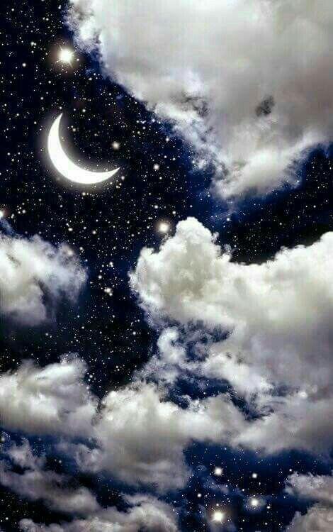 Himmel, Tapete, Nacht, Wolken, Sterne, Mond, weiße Wolke, Collage, Kunst, Leben, vida life #indie #aesthetic #nature #decor #plants
