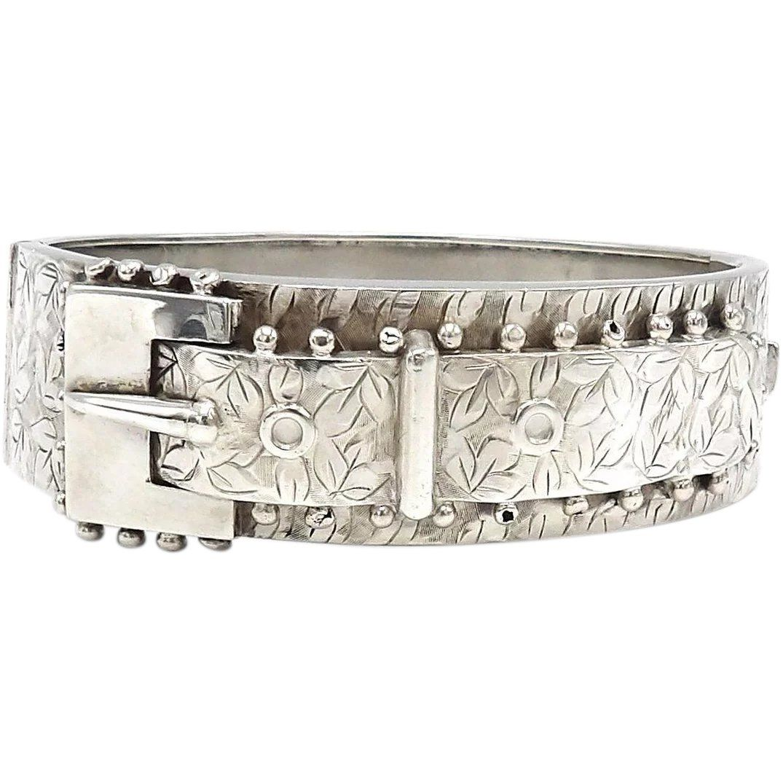 Ametista Dove Trovarla victorian sterling silver belt buckle cuff bracelet, circa