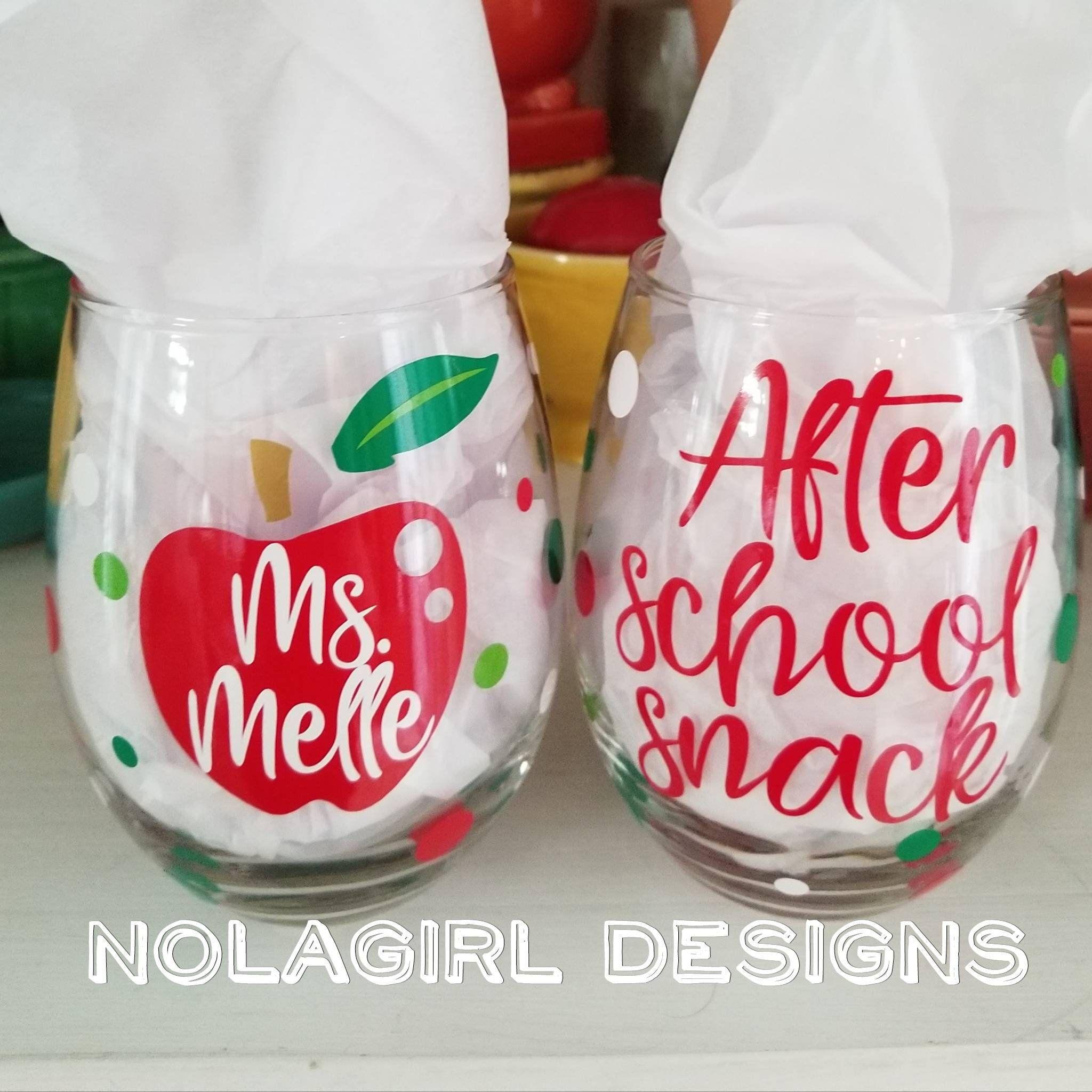 Teacher Wine Glass Teacher Gift After School Snack Back To Etsy Teacher Wine Glass Personalized Wine Glass Wine Teacher