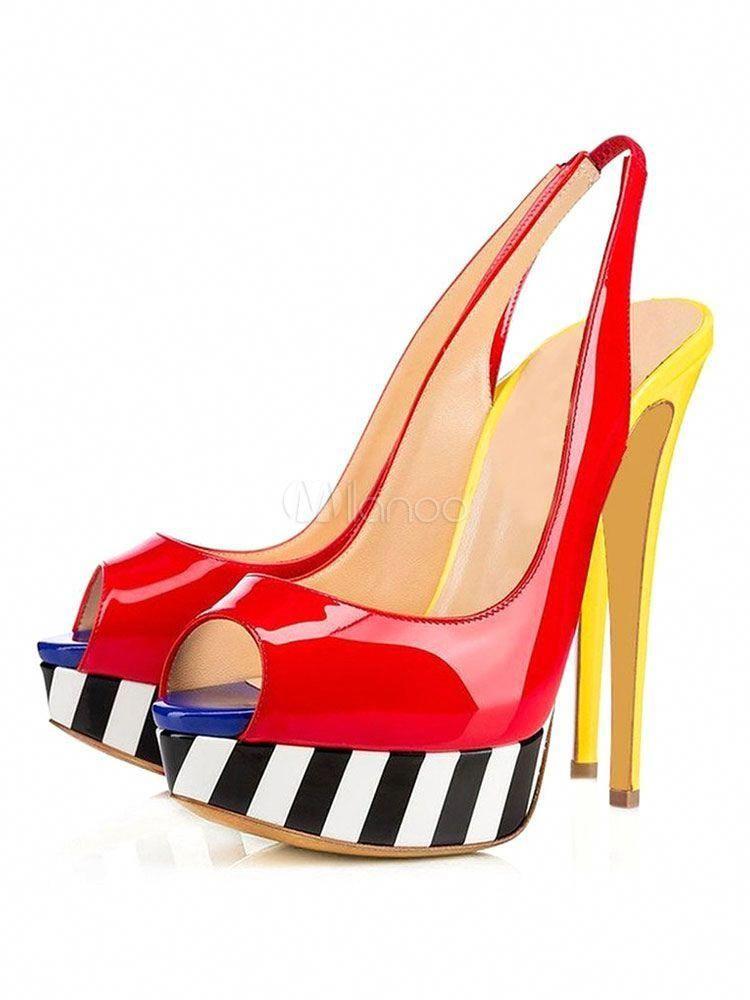 4234f117c6d High Heel Sandals Peep Toe Slingback Color Block Stiletto Women s Platform  Sandals  Highheels
