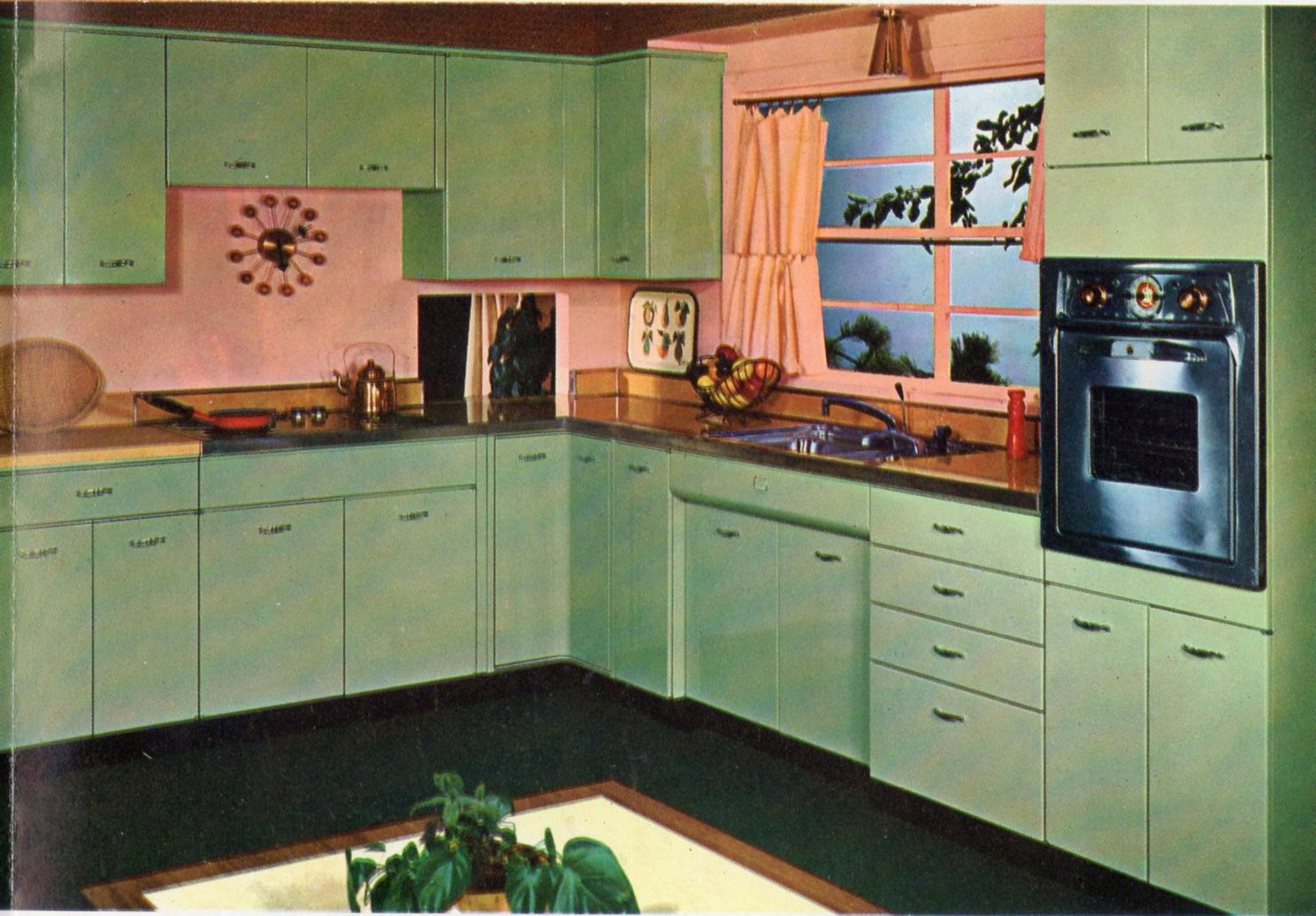 Okay Who Stole My Mother S Yellow Kitchen And Dyed It Green N Pink Retro Kitchen Pink Kitchen Ranch Kitchen Remodel