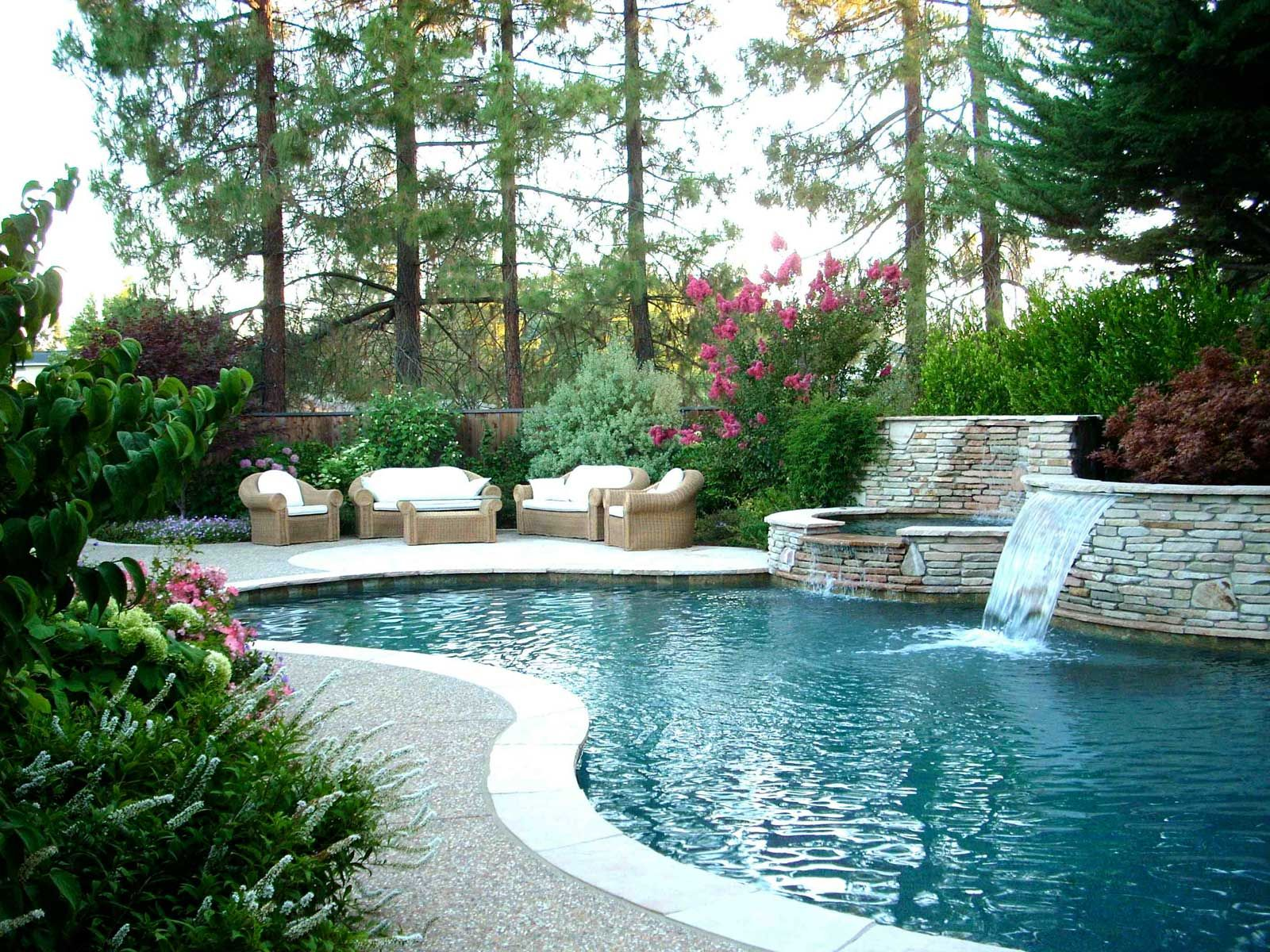 Swiming Pools Wooden Outdoor Sofas With Mini Waterfall Also Forest ...