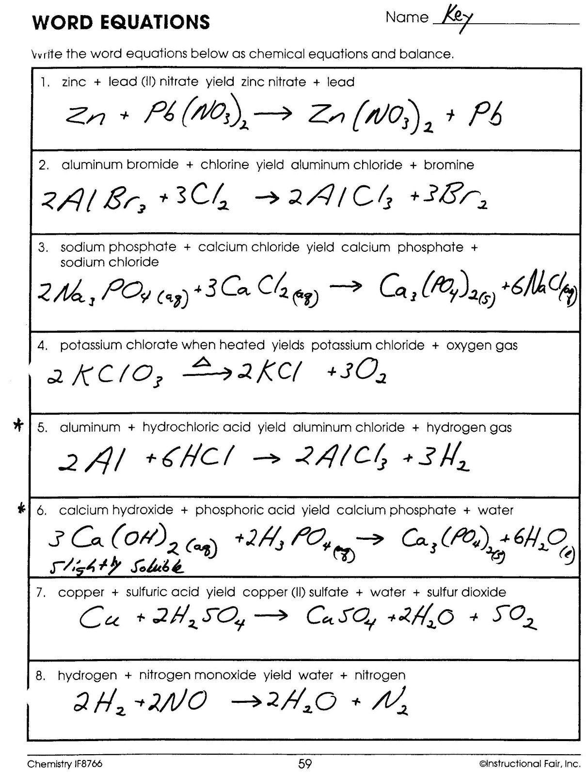 Chemical formulas and Equations Worksheet Spice Of Lyfe