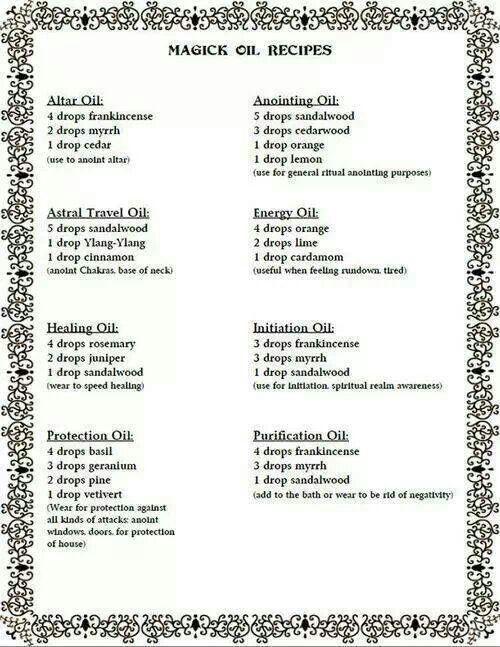 Magic oil recipes