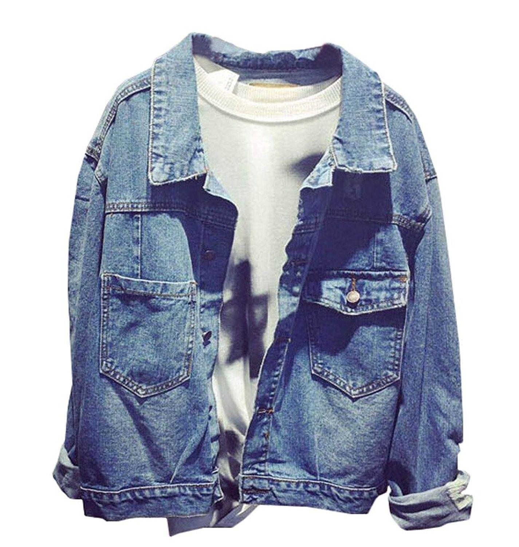 Women S Oversize Cowboy Bf Lapel Jean Jacket Outwear Blue C212ll4957t Vintage Denim Jacket Denim Jacket Women Denim Coat Jacket [ 1500 x 1425 Pixel ]