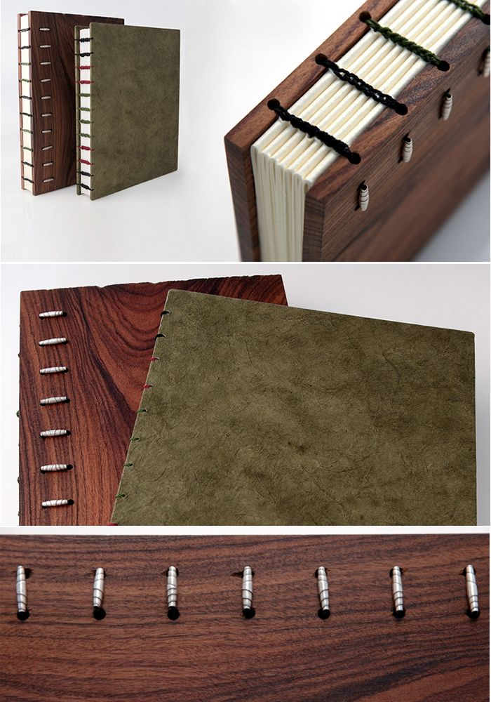 Bindings by Michael Adcock. Coptic Book Binding Samples - Hand-stitched binding with the book's spine exposed. The wood panel book is made from brazilian rosewood leaving the coptic binding visible. This style of book binding was used by the early Egyptians and was one of the earliest commonly used styles of book binding.